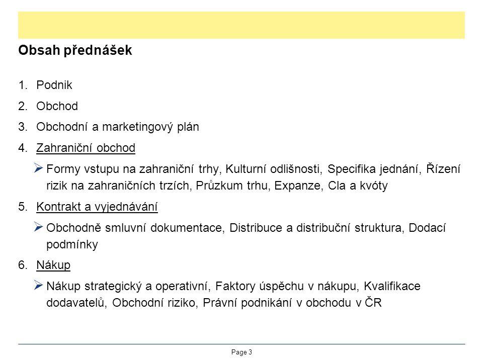 Obsah přednášek 1.Podnik 2.Obchod 3.Obchodní a marketingový plán 4.Zahraniční obchod  Formy vstupu na zahraniční trhy, Kulturní odlišnosti, Specifika