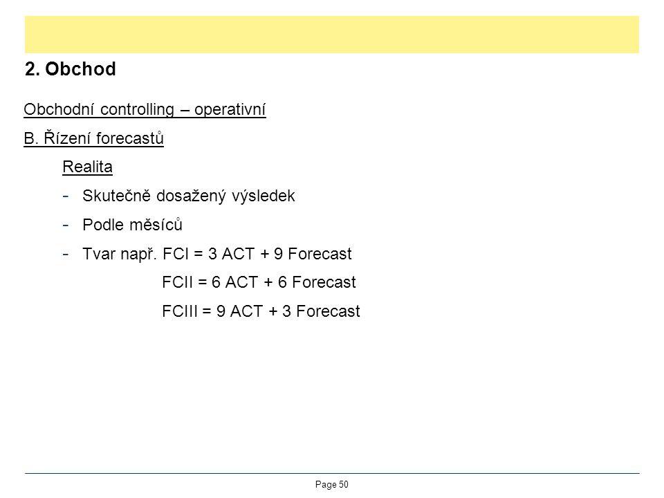 2. Obchod Obchodní controlling – operativní B. Řízení forecastů Realita - Skutečně dosažený výsledek - Podle měsíců - Tvar např. FCI = 3 ACT + 9 Forec