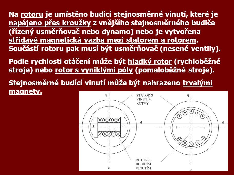 Na rotoru je umístěno budící stejnosměrné vinutí, které je napájeno přes kroužky z vnějšího stejnosměrného budiče (řízený usměrňovač nebo dynamo) nebo je vytvořena střídavé magnetická vazba mezi statorem a rotorem.