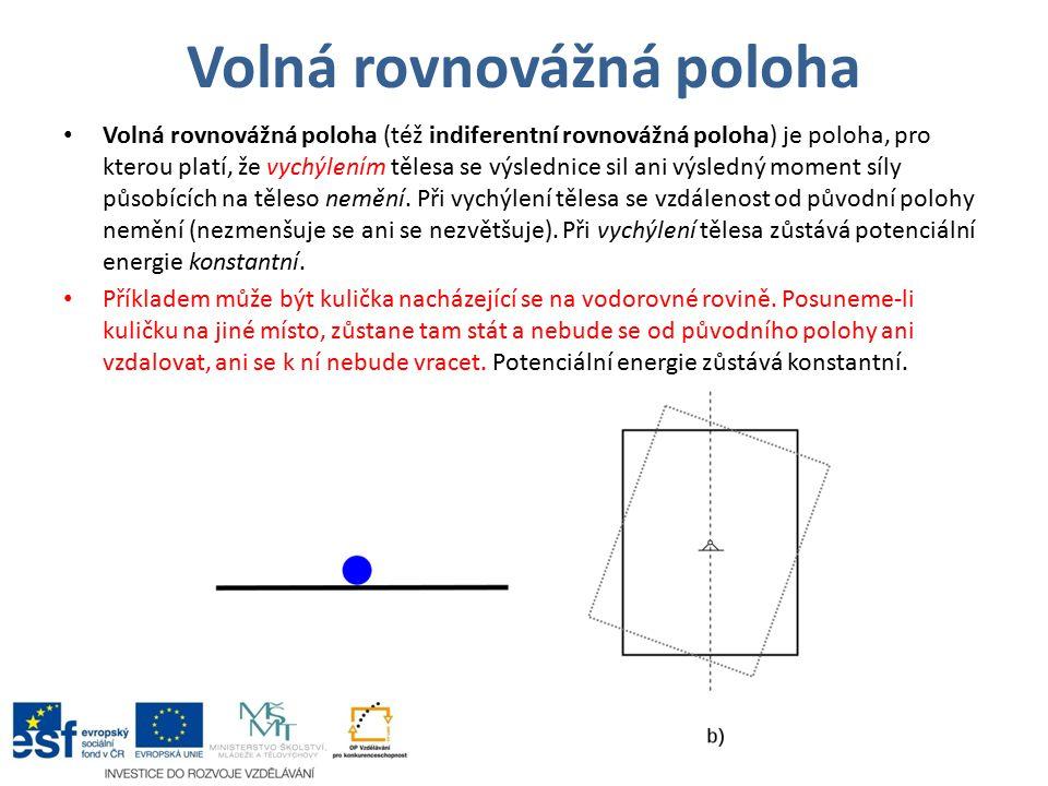 Volná rovnovážná poloha Volná rovnovážná poloha (též indiferentní rovnovážná poloha) je poloha, pro kterou platí, že vychýlením tělesa se výslednice s