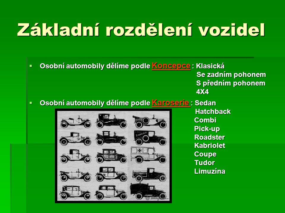 Základní rozdělení vozidel  Osobní automobily dělíme podle Koncepce : Klasická Se zadním pohonem S předním pohonem 4X4  Osobní automobily dělíme pod