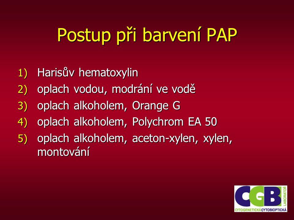 Postup při barvení PAP 1) Harisův hematoxylin 2) oplach vodou, modrání ve vodě 3) oplach alkoholem, Orange G 4) oplach alkoholem, Polychrom EA 50 5) o