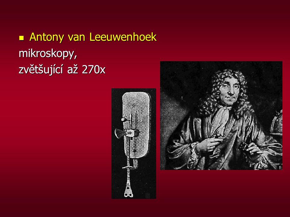 Antony van Leeuwenhoek Antony van Leeuwenhoekmikroskopy, zvětšující až 270x