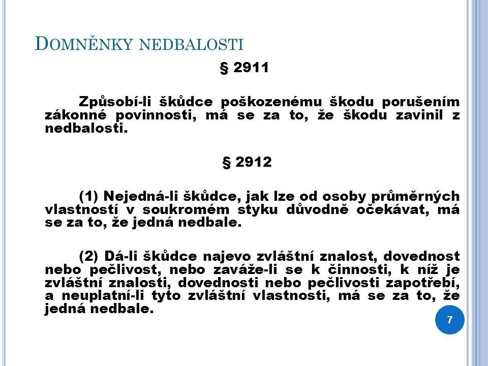 D OMNĚNKY NEDBALOSTI § 2911 Způsobí-li škůdce poškozenému škodu porušením zákonné povinnosti, má se za to, že škodu zavinil z nedbalosti. § 2912 (1) N
