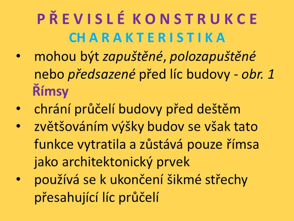 P Ř E V I S L É K O N S T R U K C E CH A R A K T E R I S T I K A stabilita říms je podmíněna dostatečným uložením na zdi, zakotvením nebo nadezdívkou římsy se provádějí ze dřeva, cihelné nebo železobetonové - obr.