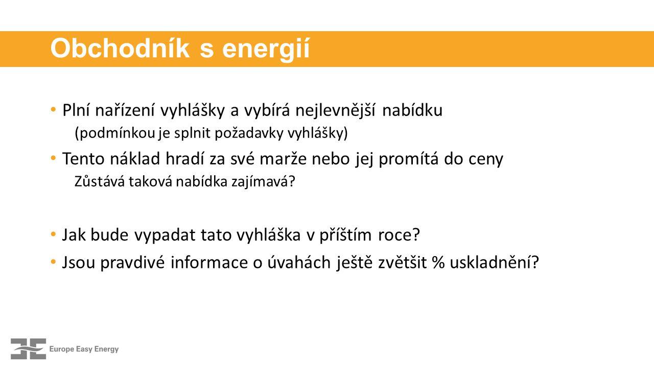 Obchodník s energií Plní nařízení vyhlášky a vybírá nejlevnější nabídku (podmínkou je splnit požadavky vyhlášky) Tento náklad hradí za své marže nebo