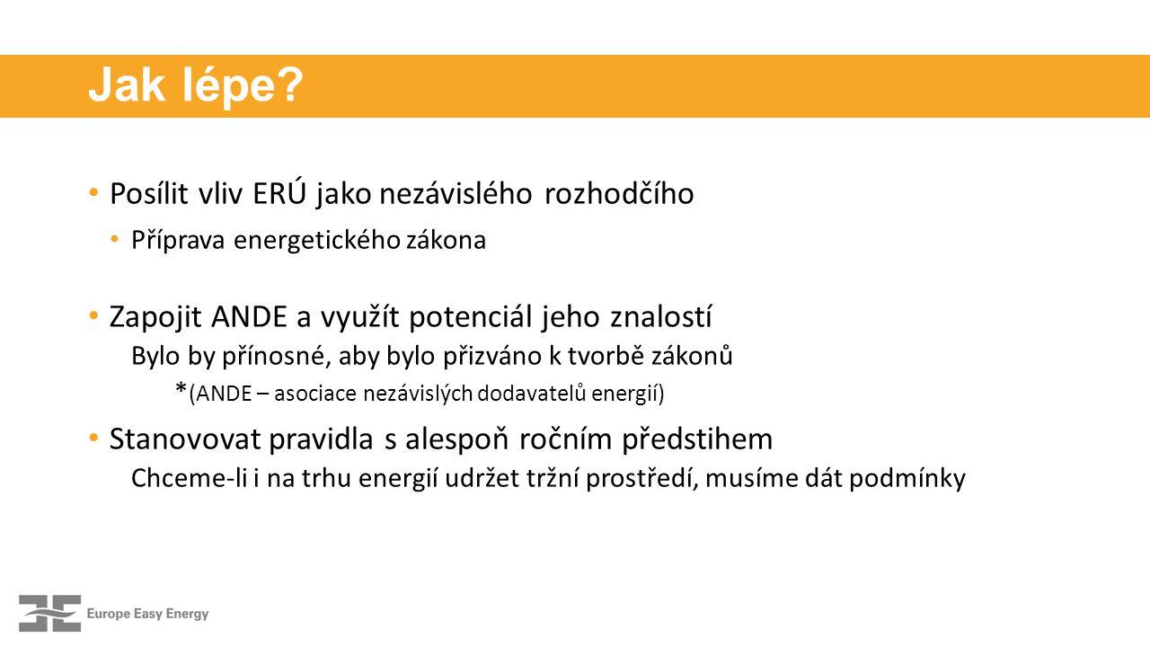 Jak lépe? Posílit vliv ERÚ jako nezávislého rozhodčího Příprava energetického zákona Zapojit ANDE a využít potenciál jeho znalostí Bylo by přínosné, a