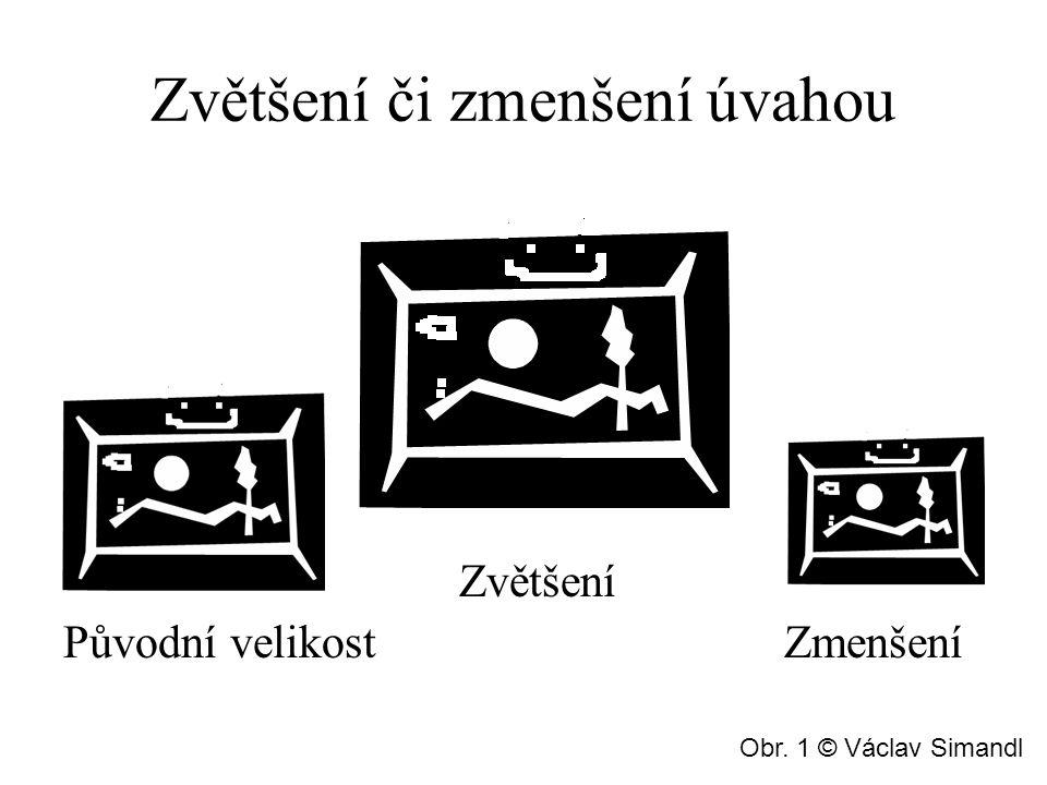 Zvětšení či zmenšení úvahou Zvětšení Původní velikost Zmenšení Obr. 1 © Václav Simandl