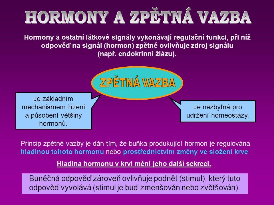 Hormony a ostatní látkové signály vykonávají regulační funkci, při níž odpověď na signál (hormon) zpětně ovlivňuje zdroj signálu (např.