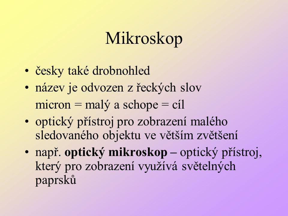 česky také drobnohled název je odvozen z řeckých slov micron = malý a schope = cíl optický přístroj pro zobrazení malého sledovaného objektu ve větším