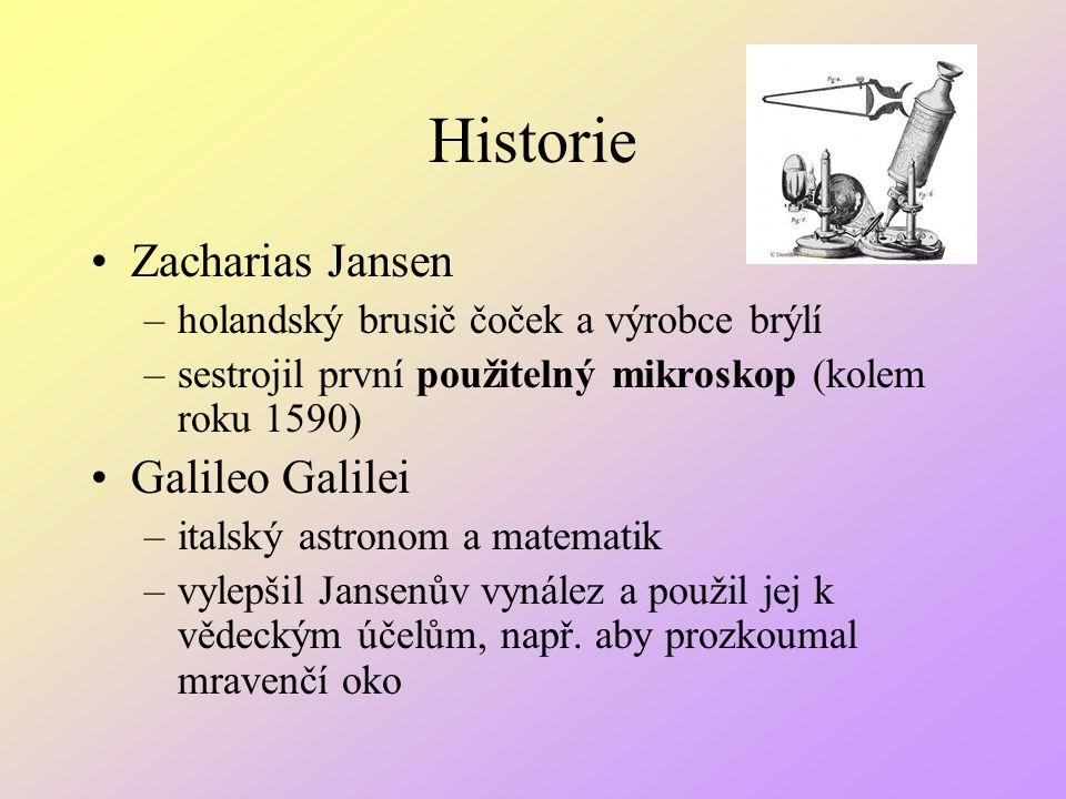 Historie Zacharias Jansen –holandský brusič čoček a výrobce brýlí –sestrojil první použitelný mikroskop (kolem roku 1590) Galileo Galilei –italský ast