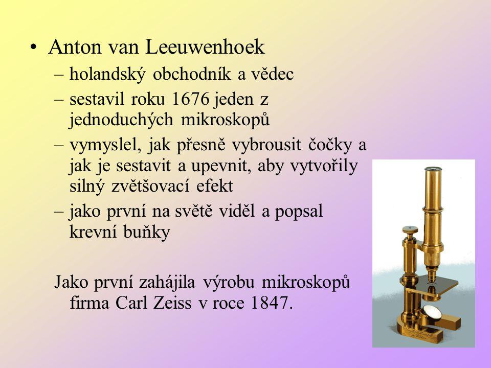 Anton van Leeuwenhoek –holandský obchodník a vědec –sestavil roku 1676 jeden z jednoduchých mikroskopů –vymyslel, jak přesně vybrousit čočky a jak je