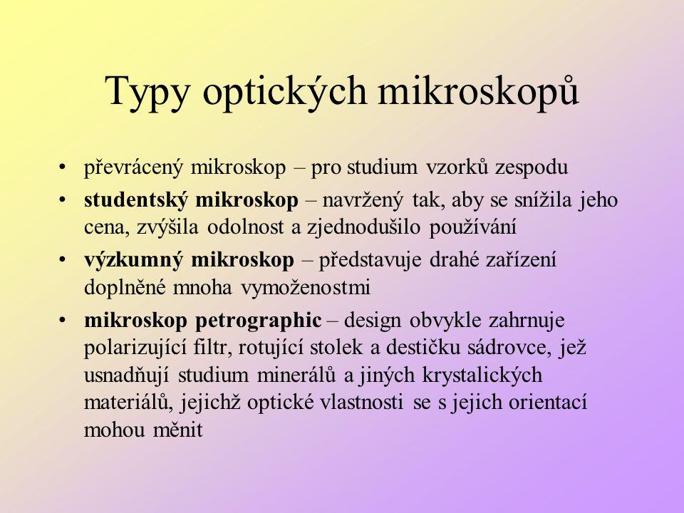 Typy optických mikroskopů převrácený mikroskop – pro studium vzorků zespodu studentský mikroskop – navržený tak, aby se snížila jeho cena, zvýšila odo
