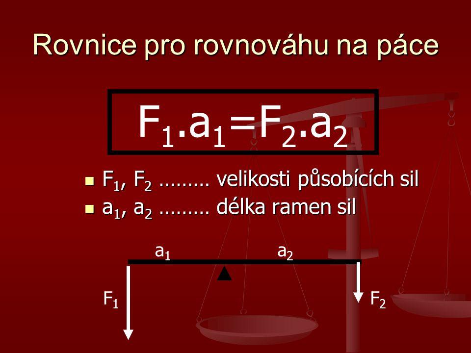 Rovnice pro rovnováhu na páce F 1, F 2 ……… velikosti působících sil F 1, F 2 ……… velikosti působících sil a 1, a 2 ……… délka ramen sil a 1, a 2 ……… dé