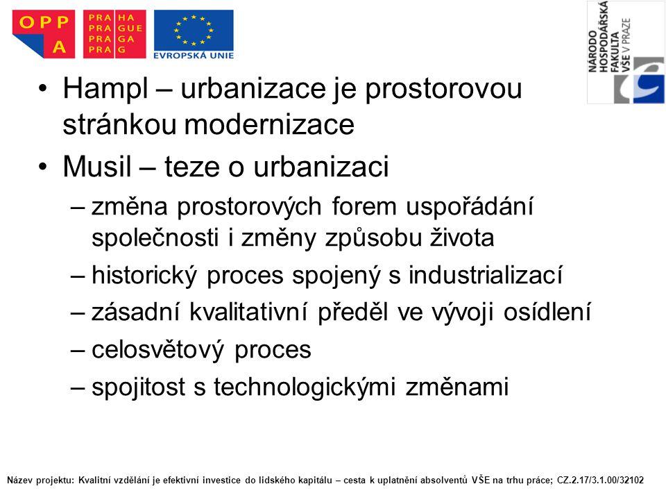 Název projektu: Kvalitní vzdělání je efektivní investice do lidského kapitálu – cesta k uplatnění absolventů VŠE na trhu práce; CZ.2.17/3.1.00/32102 Stupeň urbanizace – míra urbanizace Jaký je stupeň urbanizace v Česku.