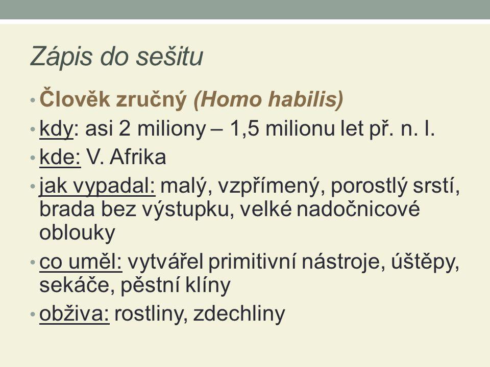 Zápis do sešitu Člověk zručný (Homo habilis) kdy: asi 2 miliony – 1,5 milionu let př.