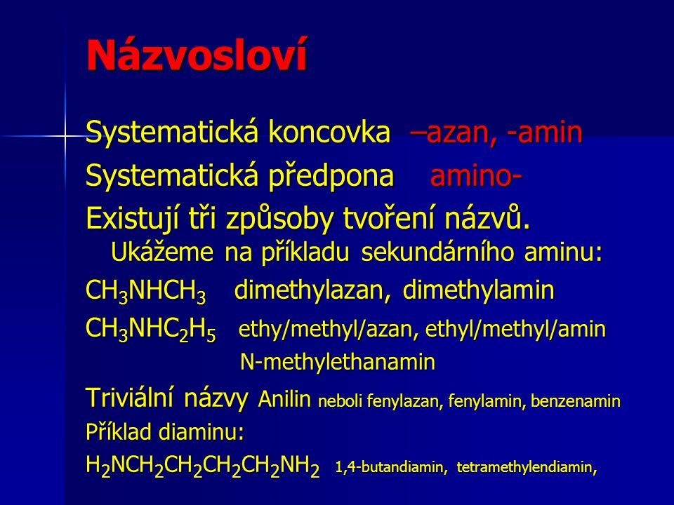 Názvosloví Systematická koncovka –azan, -amin Systematická předpona amino- Existují tři způsoby tvoření názvů. Ukážeme na příkladu sekundárního aminu:
