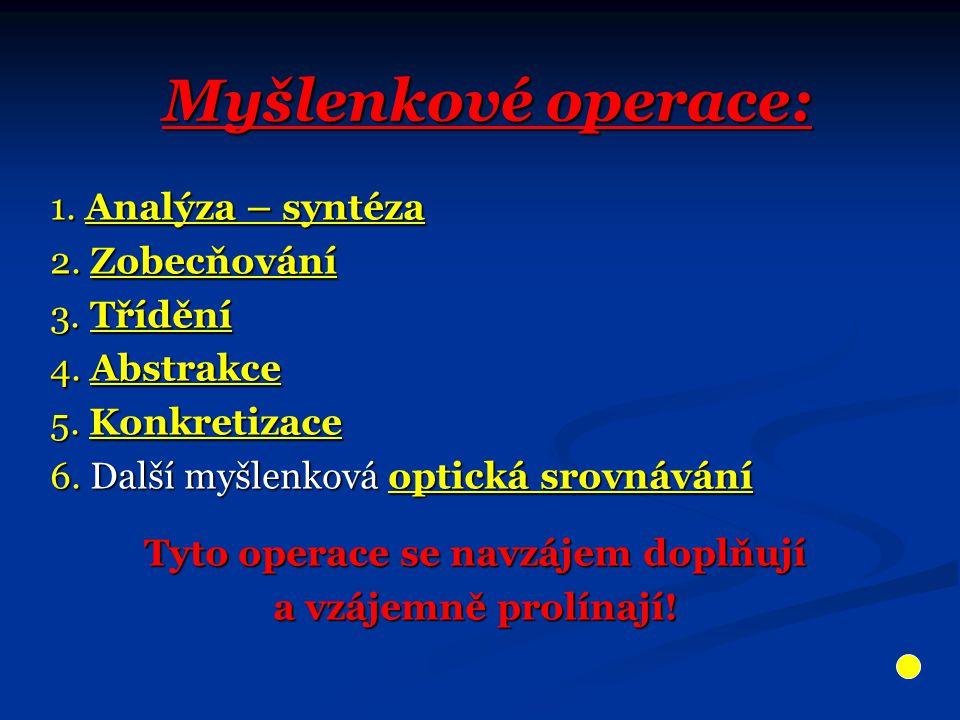 Myšlenkové operace: 1. Analýza – syntéza 2. Zobecňování 3. Třídění 4. Abstrakce 5. Konkretizace 6. Další myšlenková optická srovnávání Tyto operace se