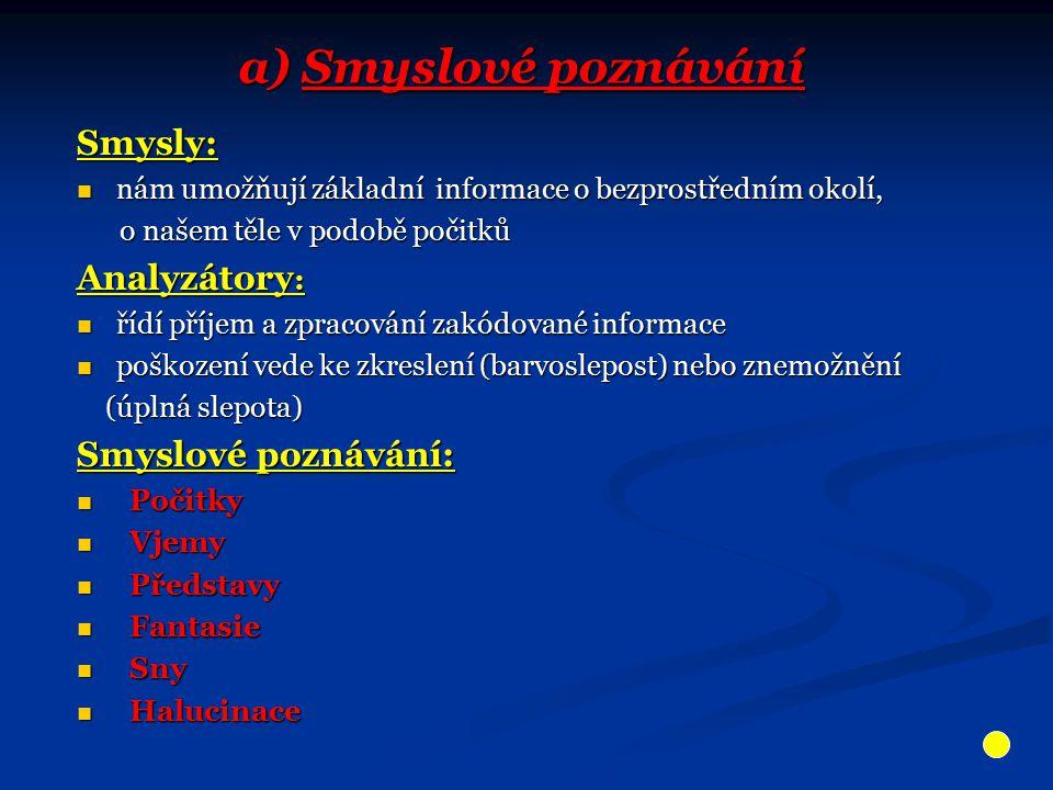 a) Smyslové poznávání Smysly: nám umožňují základní informace o bezprostředním okolí, nám umožňují základní informace o bezprostředním okolí, o našem