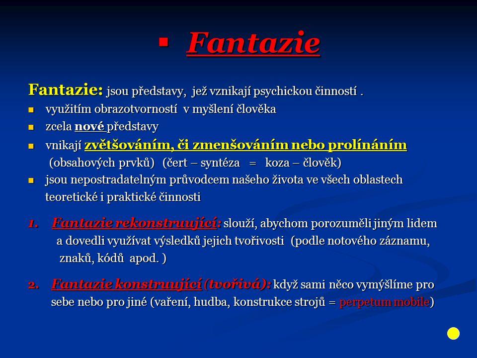  Fantazie Fantazie: jsou představy, jež vznikají psychickou činností. využitím obrazotvorností v myšlení člověka využitím obrazotvorností v myšlení č