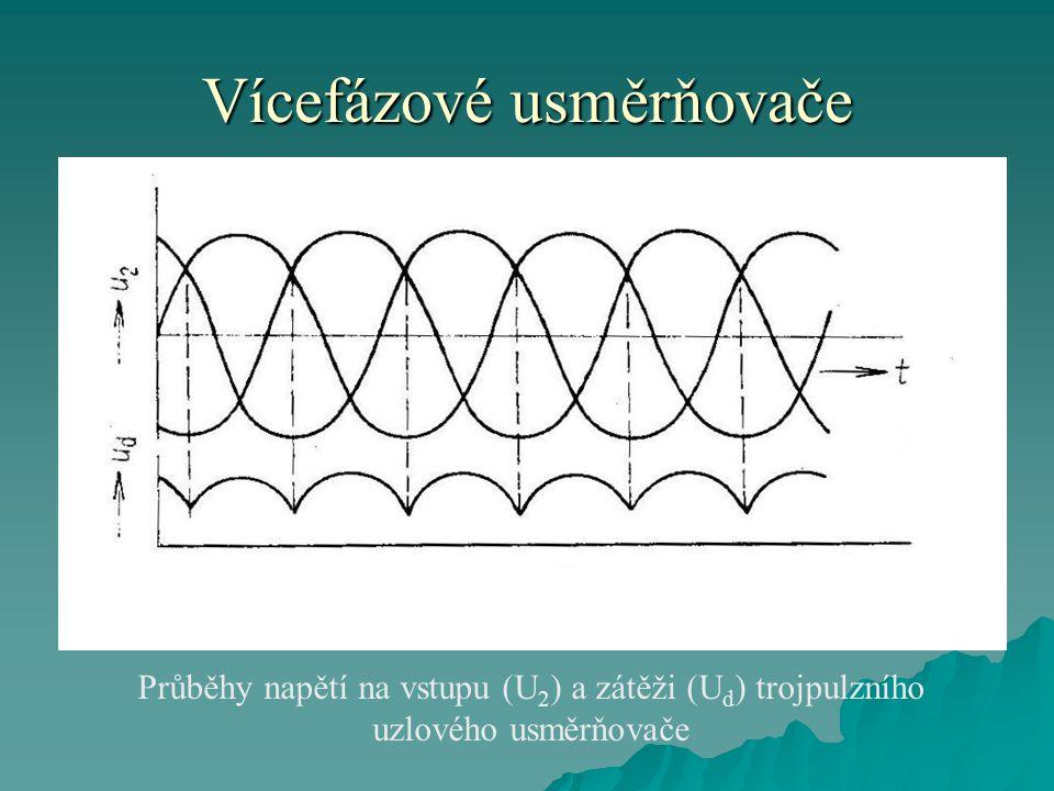 Vícefázové usměrňovače Průběhy napětí na vstupu (U 2 ) a zátěži (U d ) trojpulzního uzlového usměrňovače