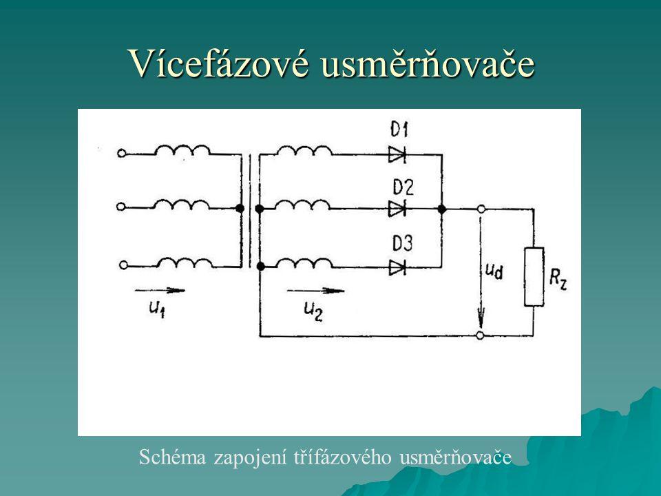 Vícefázové usměrňovače  Zvlněné usměrněné napětí má vyšší frekvenci než má napájecí napětí.