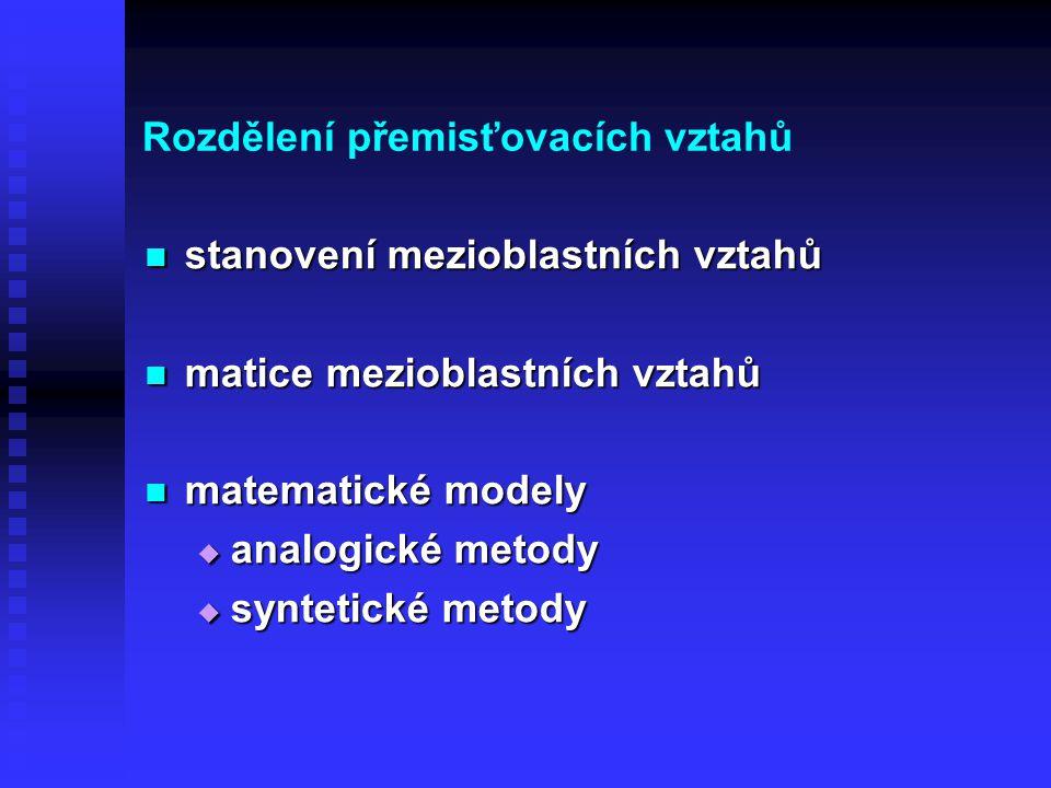 Rozdělení přemisťovacích vztahů stanovení mezioblastních vztahů stanovení mezioblastních vztahů matice mezioblastních vztahů matice mezioblastních vztahů matematické modely matematické modely  analogické metody  syntetické metody