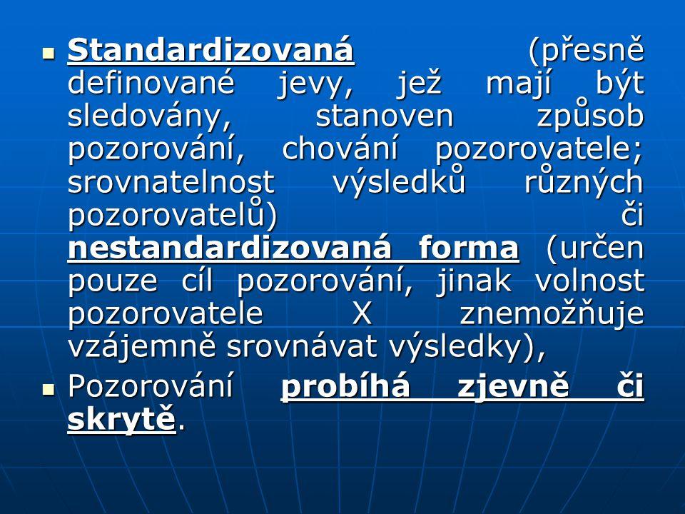 Standardizovaná (přesně definované jevy, jež mají být sledovány, stanoven způsob pozorování, chování pozorovatele; srovnatelnost výsledků různých pozo