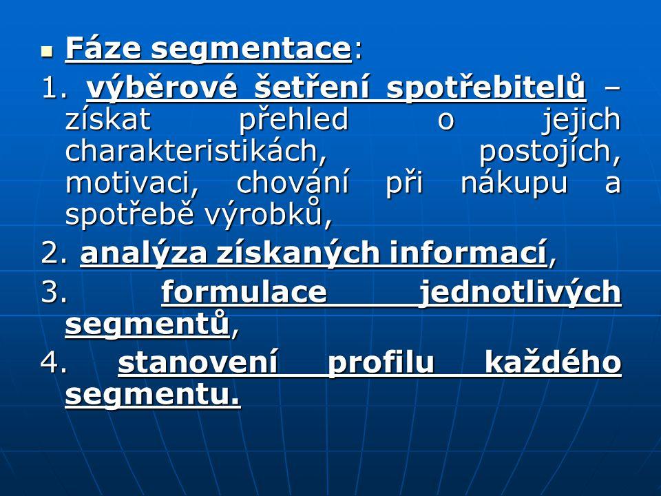 Fáze segmentace: Fáze segmentace: 1. výběrové šetření spotřebitelů – získat přehled o jejich charakteristikách, postojích, motivaci, chování při nákup