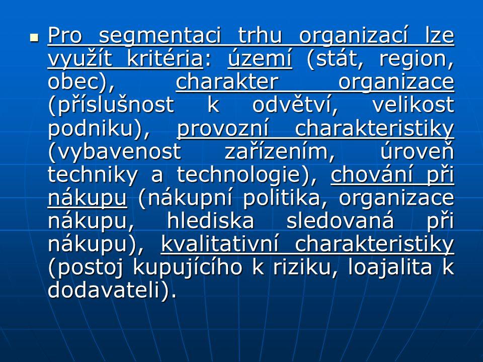 Pro segmentaci trhu organizací lze využít kritéria: území (stát, region, obec), charakter organizace (příslušnost k odvětví, velikost podniku), provoz