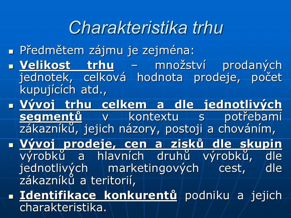 Charakteristika trhu Předmětem zájmu je zejména: Předmětem zájmu je zejména: Velikost trhu – množství prodaných jednotek, celková hodnota prodeje, poč