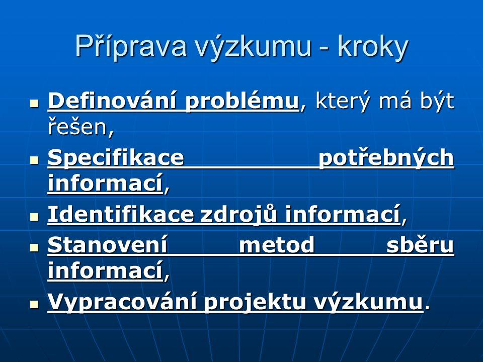 Příprava výzkumu - kroky Definování problému, který má být řešen, Definování problému, který má být řešen, Specifikace potřebných informací, Specifika