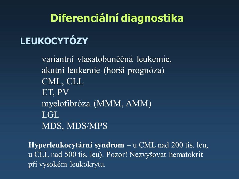 Diferenciální diagnostika LEUKOCYTÓZY variantní vlasatobuněčná leukemie, akutní leukemie (horší prognóza) CML, CLL ET, PV myelofibróza (MMM, AMM) LGL