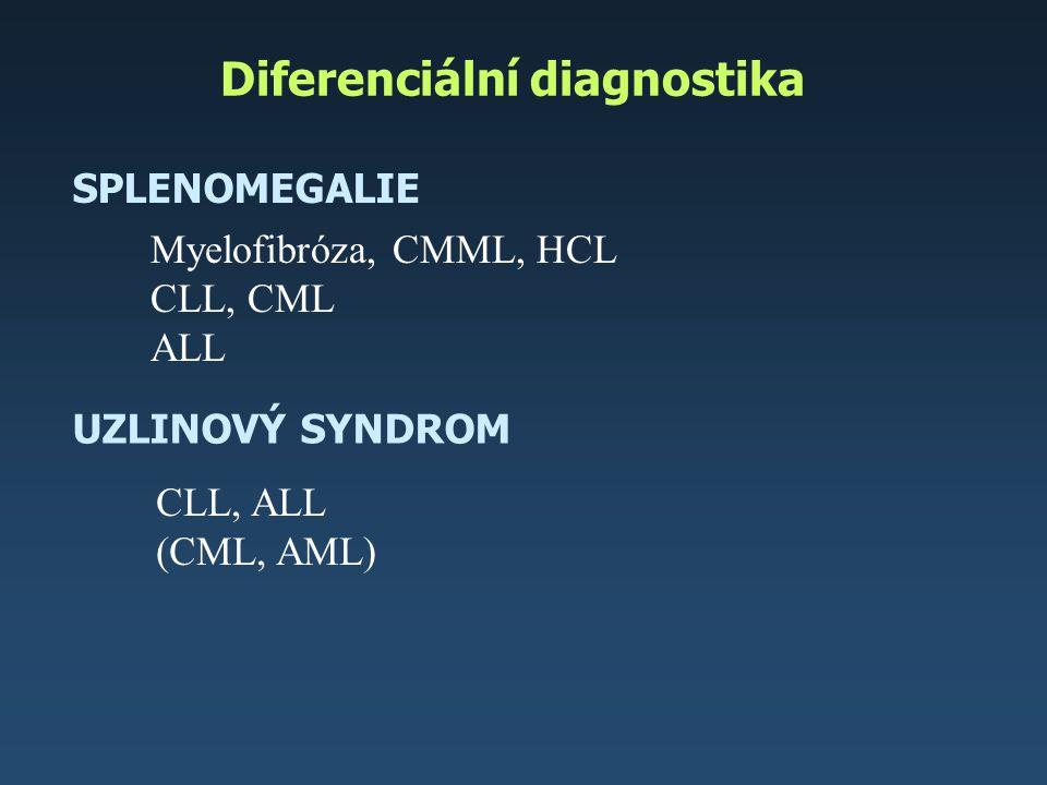 Diferenciální diagnostika SPLENOMEGALIE UZLINOVÝ SYNDROM Myelofibróza, CMML, HCL CLL, CML ALL CLL, ALL (CML, AML)