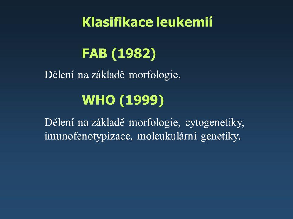 Klasifikace leukemií – AML FAB (1982) WHO (1999) AML s rekurentní chromozomální změnou t(8,21), t(15,17), t(16,16), změny 11q23 AML z MDS AML polékové – inhib.