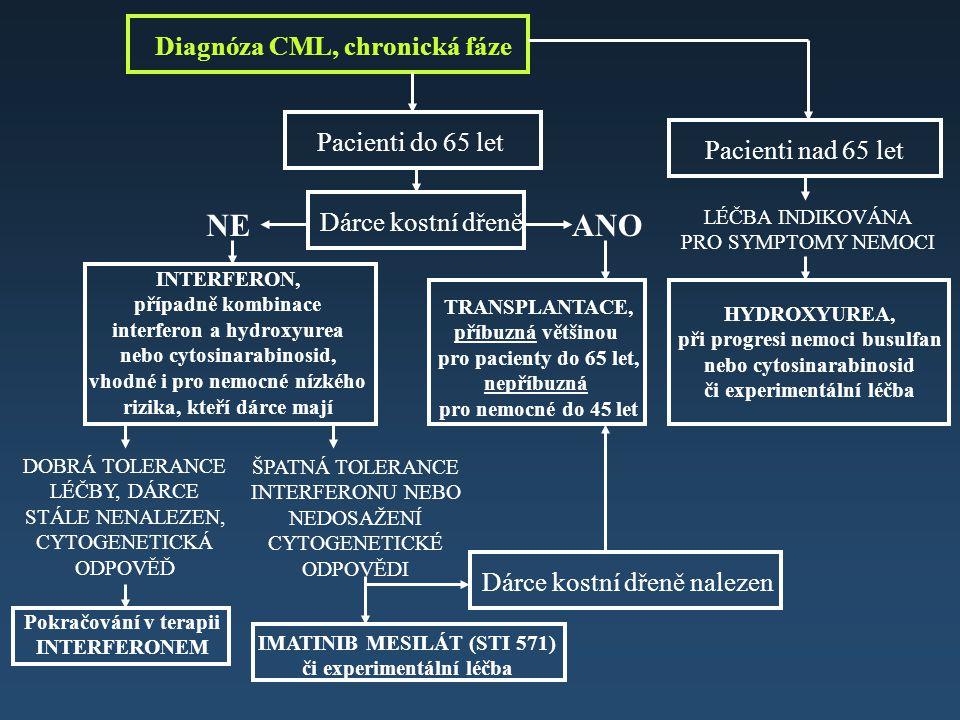 Diagnóza CML, chronická fáze Dárce kostní dřeně ANONE TRANSPLANTACE, příbuzná většinou pro pacienty do 65 let, nepříbuzná pro nemocné do 45 let INTERF