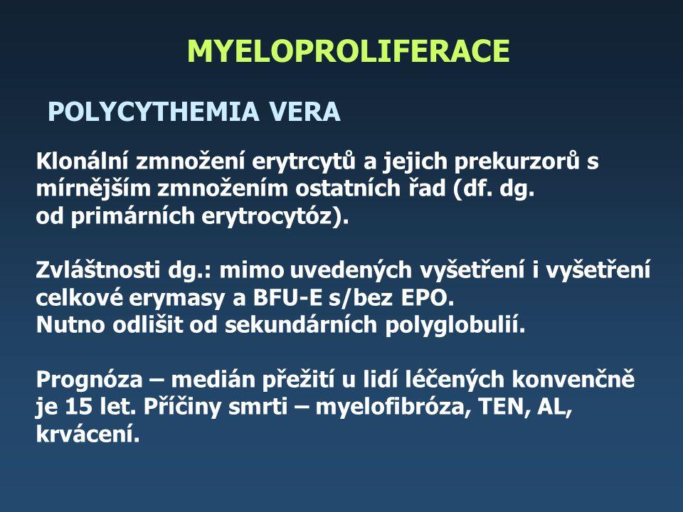Algoritmus terapie polycytemia vera 1) 2) VŠICHNI NEMOCNÍ venepunkce k dosažení hematokritu pod 45 %, v případě počtu trombocytů do 1000 x 10 9 /l Anopyrin 50 - 100 mg/den, v případě trombotických komplikací trvalá antikoagulační terapie NEMOCNÍ DO 40 LET NEMOCNÍ 40 - 60 LET NEMOCNÍ NAD 60 LET (?) je dárce dřeně není dárce dřeně TRANSPLANTACE INTERFERON HYDROXYUREA ANAGRELID není odpověď na terapii Transplantace – mladí nemocní, přechod do fibrózy či AL