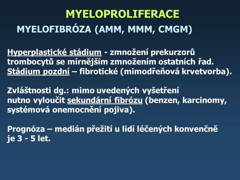 Algoritmus terapie chronické megakaryocytární granulocytární myelózy NEMOCNÍ NAD 60 LET NEMOCNÍ DO 60 LET je příbuzný dárce dřeně není příbuzný dárce dřeně PALIATIVNÍ POSTUPY A LÉČBA SYMPTOMů INTERFERON ANAGRELID TRANSPLANTACE Počáteční stadiumPozdní stadium NEMOCNÍ DO 60 LET NEMOCNÍ NAD 60 LET PALIATIVNÍ POSTUPY NEMOCNÍ DO 45 LET NEMOCNÍ NAD 45 LET kontakt registru INTERFERON ANAGRELID