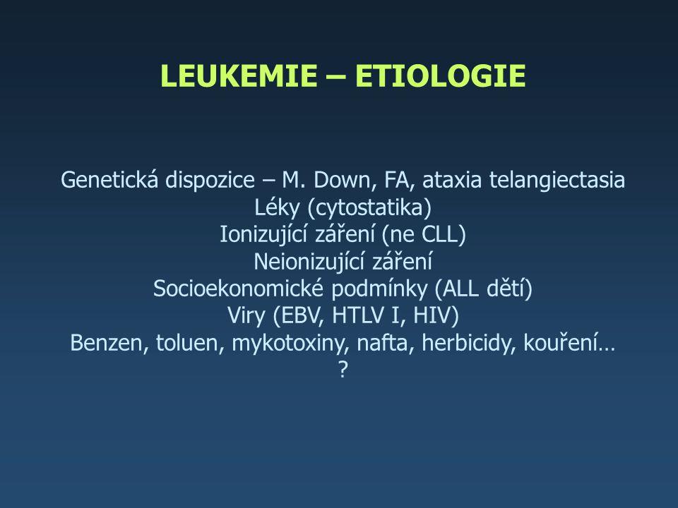 LEUKEMIE – ETIOLOGIE Genetická dispozice – M. Down, FA, ataxia telangiectasia Léky (cytostatika) Ionizující záření (ne CLL) Neionizující záření Socioe