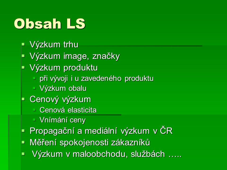 Obsah LS  Výzkum trhu  Výzkum image, značky  Výzkum produktu  při vývoji i u zavedeného produktu  Výzkum obalu  Cenový výzkum  Cenová elasticita  Vnímání ceny  Propagační a mediální výzkum v ČR  Měření spokojenosti zákazníků  Výzkum v maloobchodu, službách …..