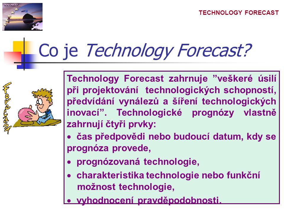 """TECHNOLOGY FORECAST Co je Technology Forecast? Technology Forecast zahrnuje """"veškeré úsilí při projektování technologických schopností, předvídání vyn"""
