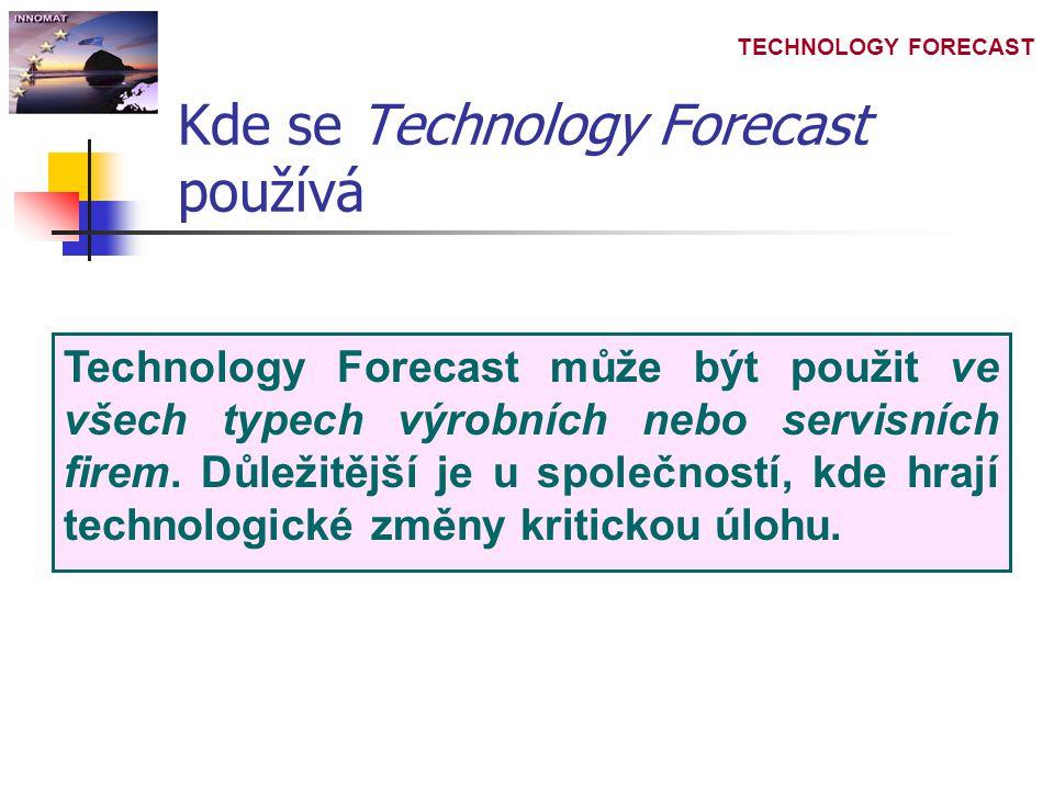 TECHNOLOGY FORECAST Kde se Technology Forecast používá Technology Forecast může být použit ve všech typech výrobních nebo servisních firem.