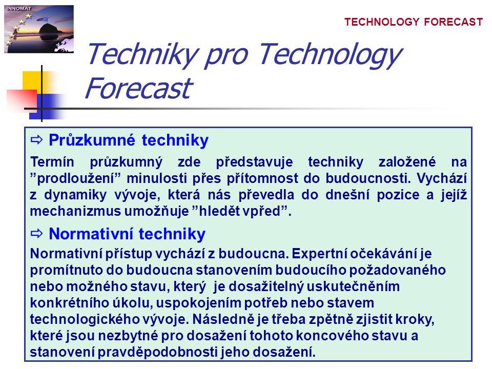 TECHNOLOGY FORECAST Techniky pro Technology Forecast  Průzkumné techniky Termín průzkumný zde představuje techniky založené na prodloužení minulosti přes přítomnost do budoucnosti.