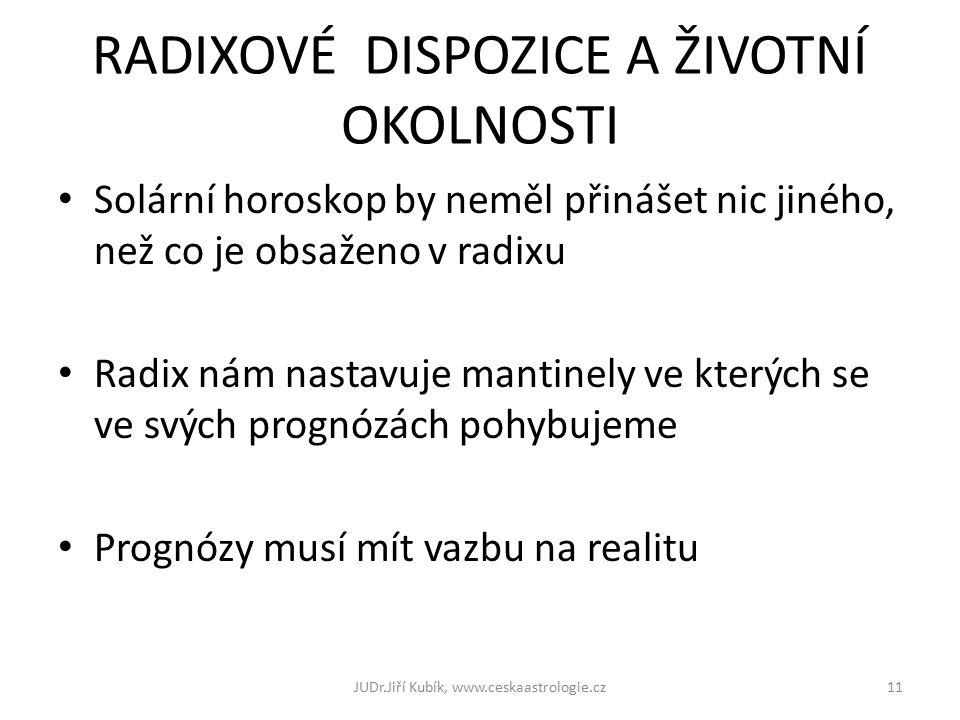 RADIXOVÉ DISPOZICE A ŽIVOTNÍ OKOLNOSTI Solární horoskop by neměl přinášet nic jiného, než co je obsaženo v radixu Radix nám nastavuje mantinely ve kterých se ve svých prognózách pohybujeme Prognózy musí mít vazbu na realitu JUDr.Jiří Kubík, www.ceskaastrologie.cz11