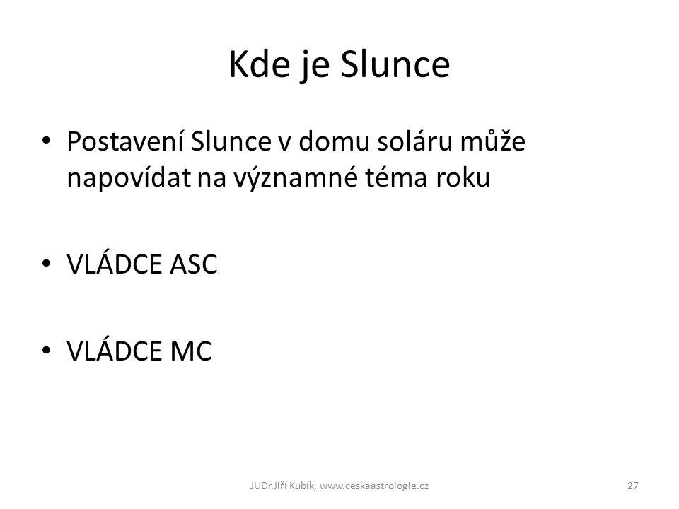 Kde je Slunce Postavení Slunce v domu soláru může napovídat na významné téma roku VLÁDCE ASC VLÁDCE MC 27JUDr.Jiří Kubík, www.ceskaastrologie.cz