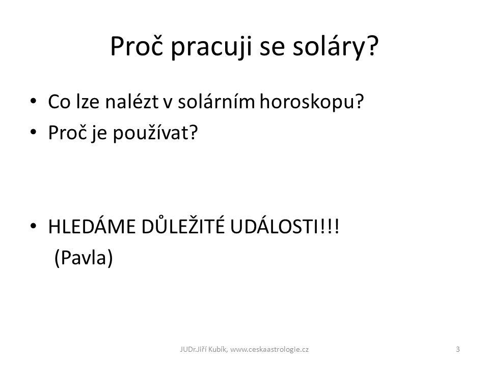 Proč pracuji se soláry? Co lze nalézt v solárním horoskopu? Proč je používat? HLEDÁME DŮLEŽITÉ UDÁLOSTI!!! (Pavla) 3JUDr.Jiří Kubík, www.ceskaastrolog