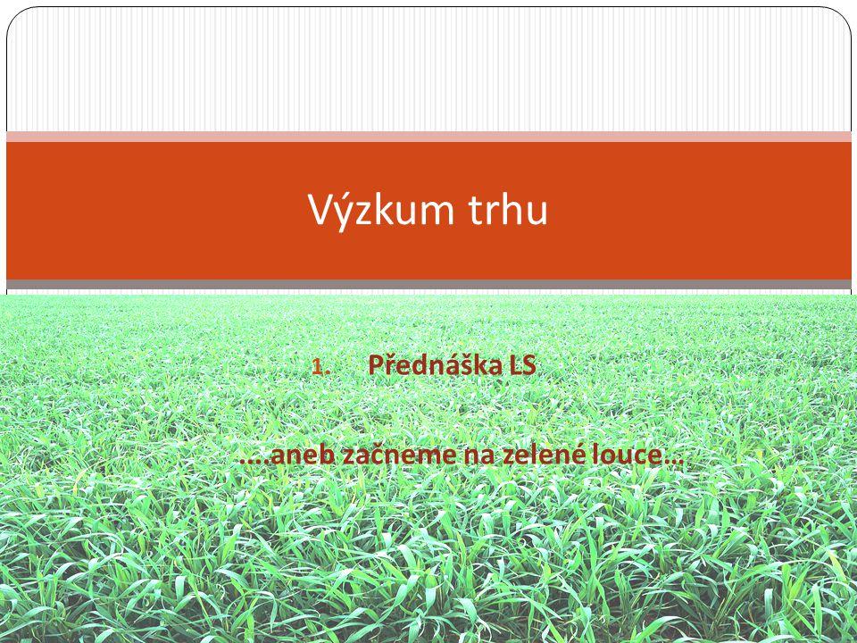 1. Přednáška LS....aneb začneme na zelené louce… Výzkum trhu
