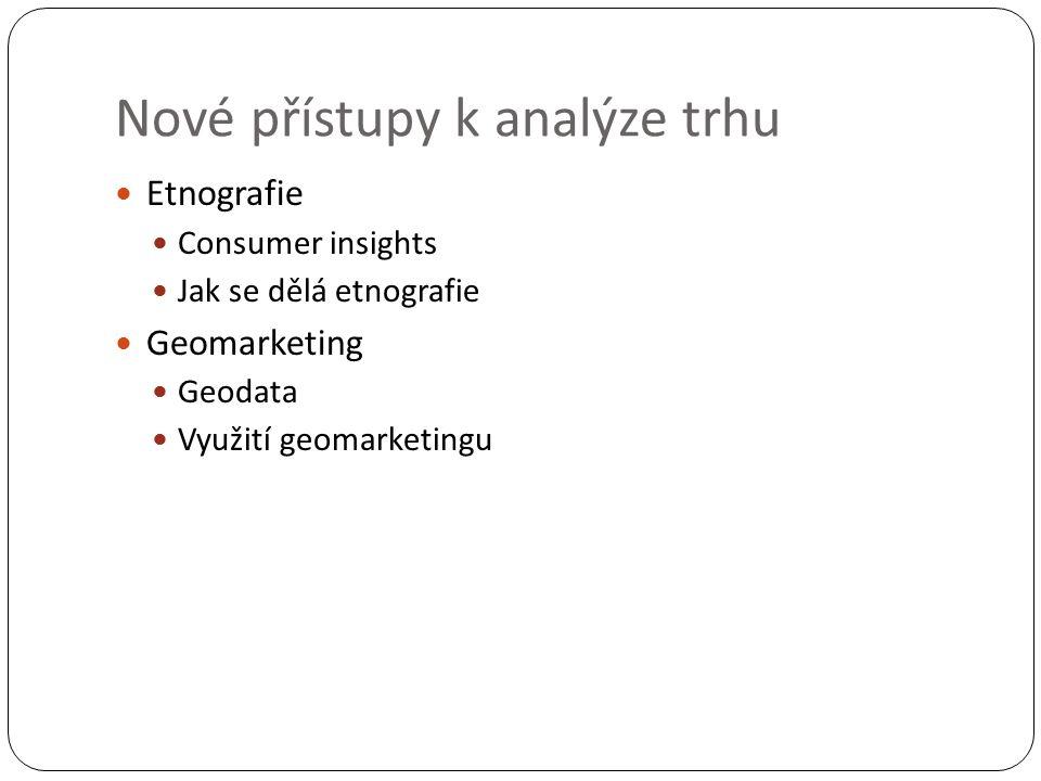 Nové přístupy k analýze trhu Etnografie Consumer insights Jak se dělá etnografie Geomarketing Geodata Využití geomarketingu