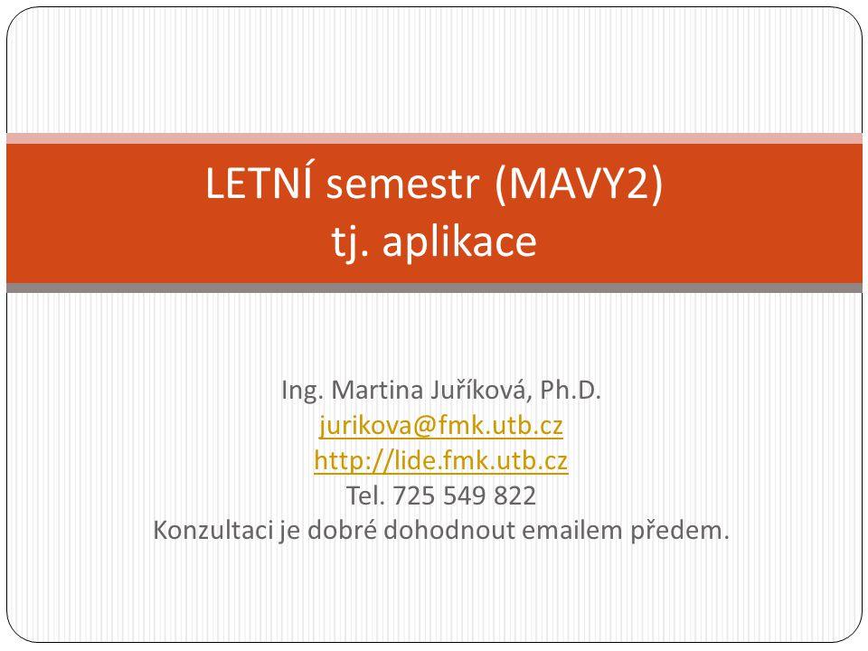 Ing. Martina Juříková, Ph.D. jurikova@fmk.utb.cz http://lide.fmk.utb.cz Tel. 725 549 822 Konzultaci je dobré dohodnout emailem předem. LETNÍ semestr (