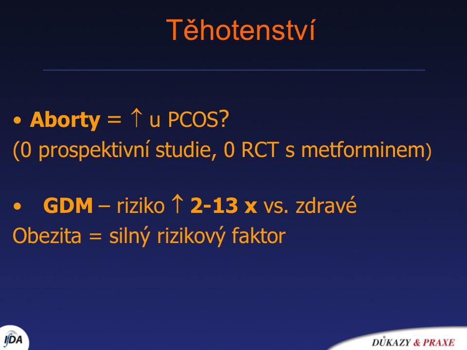 Těhotenství Aborty =  u PCOS ? (0 prospektivní studie, 0 RCT s metforminem ) GDM – riziko  2-13 x vs. zdravé Obezita = silný rizikový faktor